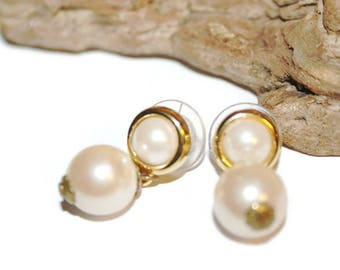 Designer Earrings, Vintage Monet Jewelry, Vintage Monet Earrings, Signed Monet, Gold and Pearl Monet, Wedding Jewelry, Retro Wedding