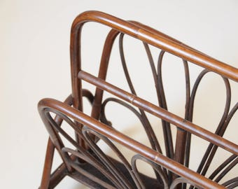 Vintage Rattan Furniture : Mid Century Wood Magazine Rack