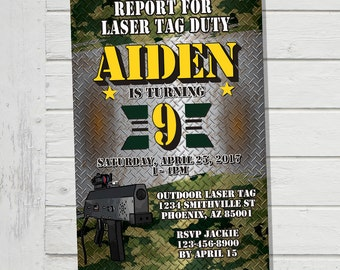 Laser Tag Invitation Outdoor Mobile Laser Tag Invite Army Camo Camouflage Birthday Party - Digital File Supplied