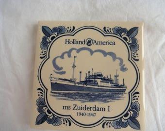 Holland America MS Zuiderdam I Ceramic Tile Coaster