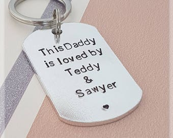 this daddy is loved by keyring, personalised keyring, dad gift, daddy keyring, personalized keychain, gift for dad, grandad keyring