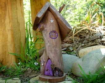 OOAK Wooden Fairy House with Purple Opening Door and Resin Windows, Twisted Rustic Fairy House