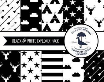 INSTANT DOWNLOAD 10 Black & White Digital Papers - Explorer Tribal Theme - Teepee/Tipi, Arrows, Stars, Clouds, Stags - 12x12 Digital Files