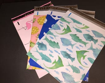 100  10x13 Nautical Beach Assortment FISH Marine  ANCHOR Nautical Flamingos Pineapples Poly Mailers 25 Each Self Sealing Envelopes