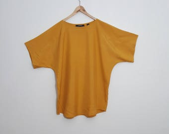 SILK Ellen Tracy MUSTARD / Mini dress or Long Blouse / MINT / 80s / Batwing