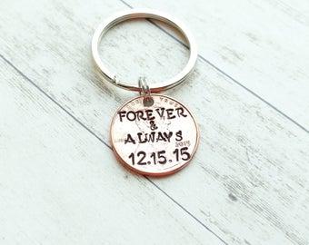 Forever and Always hand stamped keychain with a personalized date, forever and always keychain, custom keychain, love keychain valentine's