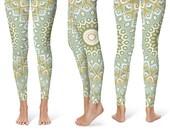 Printed Yoga Tights. Patterned Tights. Yoga Pants Green. Mandala Leggings. Mandala Pants. Nature Leggings. Printed Leggings