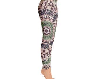 Boho Festival Mandala Yoga Pants - Unique Burning Man Clothing Women, Hooping Clothes, Dance Leggings