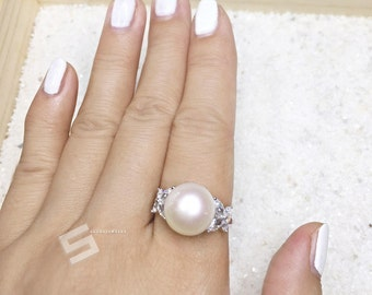 Flawless Large Pearl & Sterling Silver Ring, 12.5MM Genuine Freshwater Pearl In 925 Silver Engagement Ring, Promise Pearl Ring, Size 8 Ring