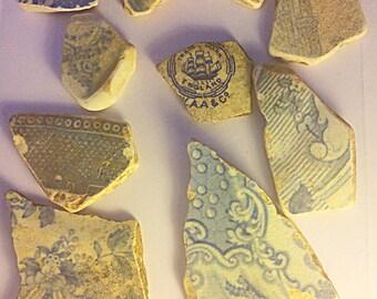Bundle of blue sea pottery, Vintage Sea Pottery, Scottish Sea Pottery, Vintage Pottery Pieces, Bundle of Beach Pottery