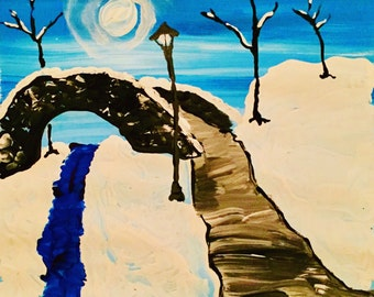 Snow Bridge - Original Acrylic Painting, art on paper, 12 x 12, No Frame, Painting only
