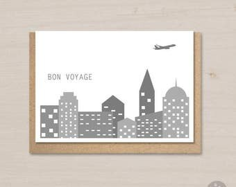Bon voyage card printable, farewell card, goodbye card, moving card, leaving card, traveler card, happy adventure, moving country, flying