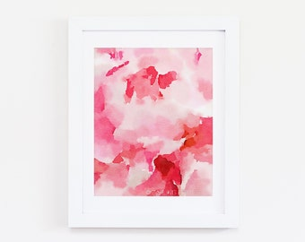 Pink Peony One - Abstract Watercolor Art Print - Pink, Coral, Blush, Peach, Floral