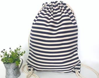 Drawstring backpack Stripe canvas backpacks Canvas backpack Canvas drawstring backpack Drawstring bag Hipster backpack Navi Blue Drawstring