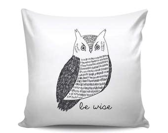 Be Wise Owl Woodland Nursery Modern Decorative Throw Pillow in Black and White