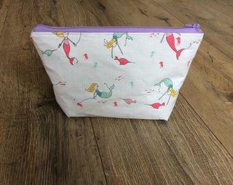 Mermaid zip bag, mermaid make up bag, mermaid print, mermaid gift, mermaid lover gift, make up lover gift, teen gift, gift for her