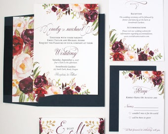 Navy and Burgundy Wedding Invitations - Floral - Wedding Invitations - Rustic Script Collection Deposit
