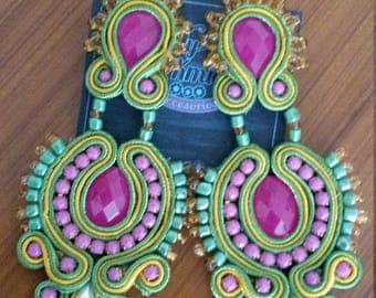 Earrings green soutache, mustard and purple