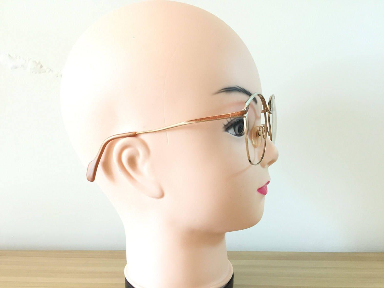 Metzler Gold Brown Eyeglasses Large Round Glasses Oversized glasses ...