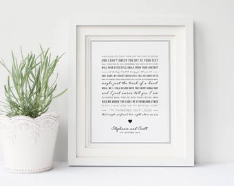 Personalised Ed Sheeran 'Thinking Out Loud' Song Lyric Print, Typographic Wall Art Quote - Song Lyric Print - Music Gift - Digital option