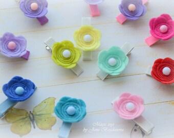 Baby Hair Clips - Clippies - Small flower clip - Hair - Felt ornament - Baby accessories - Doll accessories - Felt Clips by Jane Bogdanova
