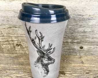 Elk travel mug with lid handmade pottery