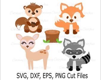 Cute Baby Fox SVG, Woodland Baby Animals, Cute deer clip art,  PNG Baby Fox Clip Art, SVGs for Silhouette and Cricut, Instant Download