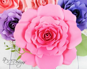 Giant Paper Rose Patterns & Tutorials, DIY Rose Flower Templates, Printable Flower Template, SVG cut files, Catching ColorFlies