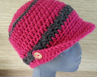 Hat in crochet with buttons of wood-Crocheted pink hat with visor with wooden buttons-Handmade hats-Wool beanies-Knitted hats-