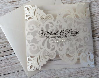 Lace and Pearls Floral Laser Cut Wedding Invitation sample