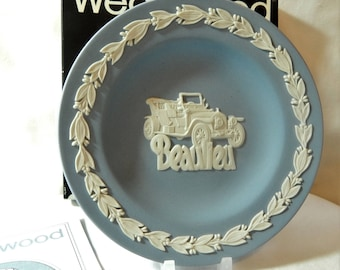 Wedgwood Blue and White Jasper ware Rolls Royce 40/50 Silver Ghost Beaulieu Round Tray Made in England Boxed Gift for Him Gift for Her