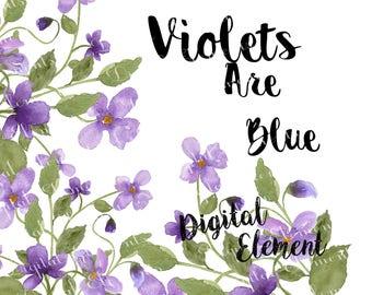 Watercolor Flower Clip-art, Lilac Violet Floral Clip-art, Lavender Watercolor Violets Clip-art, Flowers Lilac Violets Clip-art. No. WC36