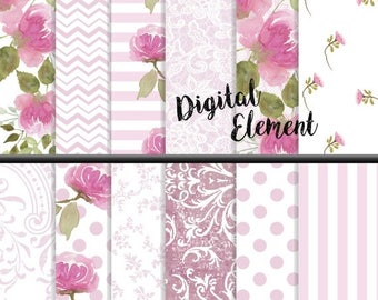 ON SALE Scrapbook Paper, Digital Paper, Pink Peony Watercolor Paper, Digital Floral Paper, Shabby Chic Digital Scrapbook Paper. No. P162