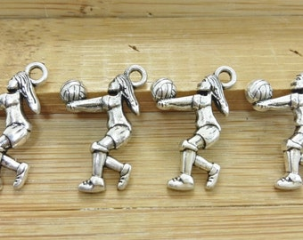 30pcs   Volleyball Charms ,  Volleyball Pendants ,Sport Charms , Sport Pendants , Sport , ball charms , I love  Volleyball Charms