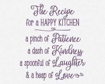Recipe For A HAPPY KITCHEN Vinyl Wall Quotes Quote Decal Kitchen Decals