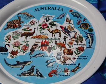 Vintage tray made in Japan Vintage Australian Souvenir map of Australia tin tray round tray unused collectors tray