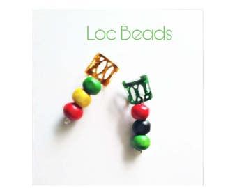 Set of two adjustable rbg rasta dreadlock and braid cuff beads