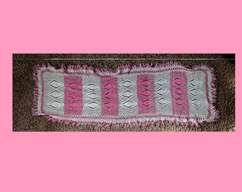 Pink & White Crocheted Lace Table Runner Doily ~ 16 x 52 inch Tablecloth Scarf ~ Home Decor ~ Shabby Cottage Chic ~ Fringed Crochet Doilies