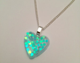 Resin Necklace - Resin Heart Necklace - Resin Heart Pendant - Blue Heart Glitter - Blue Heart Pendant - Blue Heart Necklace - Blue Hearts