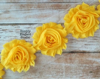 "Yellow Frayed Shabby Chic Flowers, 2.5"" Chiffon Flowers, Headband Flowers, Flower by the Yard, DIY supply"