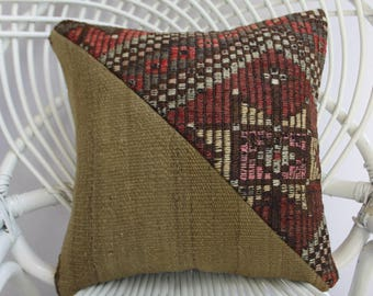 16x16 Patchwork kilim pillow dark red cream color Turkish kilim pillow decorative pillows for couch pillow covers coussin kilim design  2346