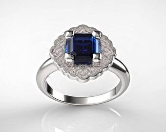 Sapphire White Gold Engagement Ring, Blue Sapphire Ring, Halo Engagement Ring, Cushion Cut Engagement Ring,Sapphire Engagement Ring,14K Gold