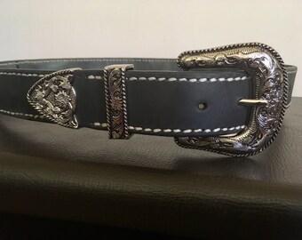 Stitched Black Leather Belt