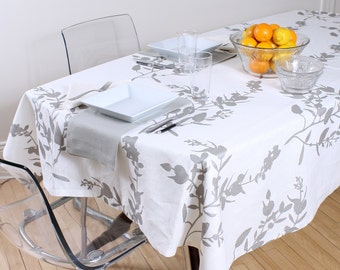 Broken FOLIAGE, white tablecloth, 100% linen
