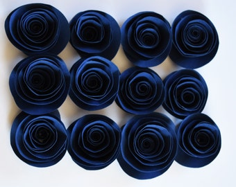 Navy Blue Paper Flowers, Loose Paper Roses, Small Paper Roses