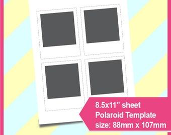"Polaroid Template, Photo template  PSD, PNG files,  8.5x11"" sheet,  Printable 081"