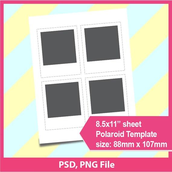 "Polaroid Template, Photo Template Psd, Png Files, 8.5X11"" Sheet"