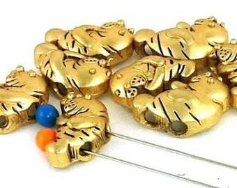 8 manatee gold 2 hole slider beads B72-R1