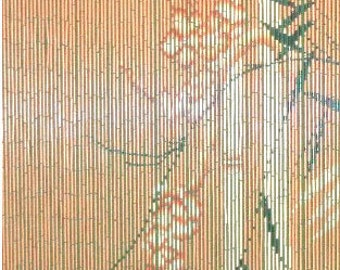 Orange Bamboo Beaded Curtain