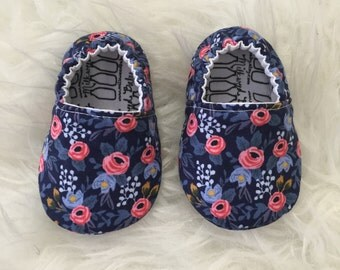 Baby Moccs: Rifle Paper Co Navy and Pink Floral Soft Sole Baby Toddler Shoes